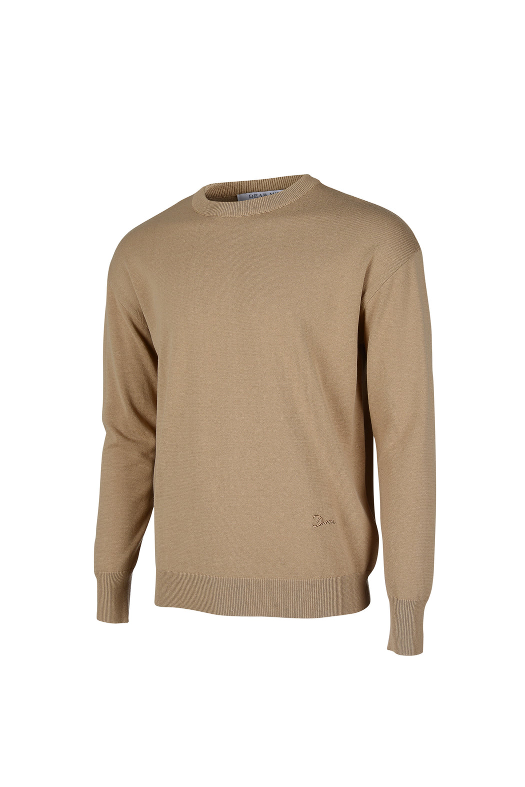 Side view of Men Embroidery Knit in Beige