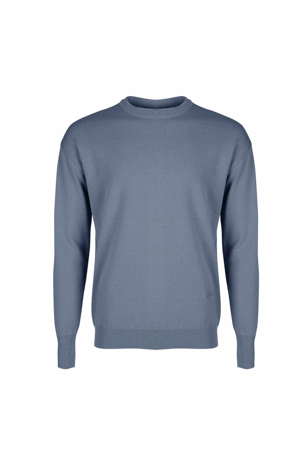Front view of Men Embroidery Knit in Blue