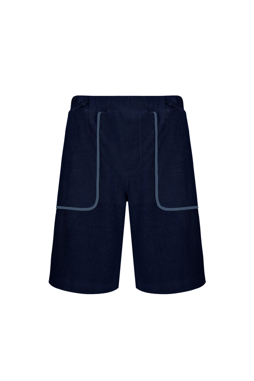 Front view of Men Line Detailed Terry Shorts in Navy