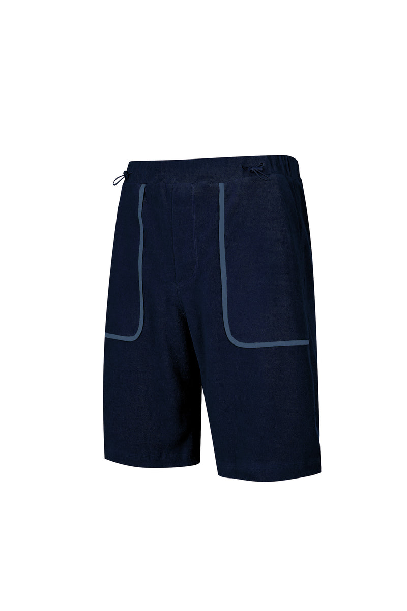 Side view of Men Line Detailed Terry Shorts in Navy