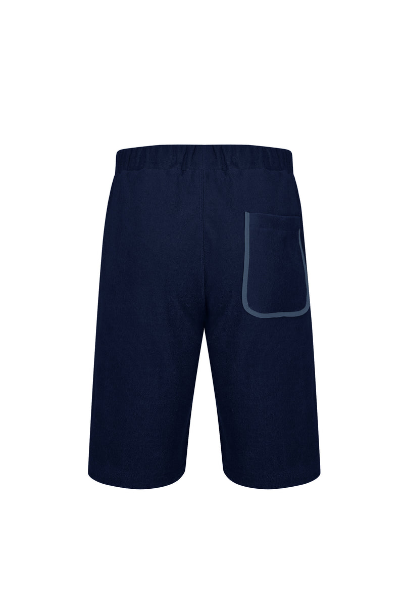 Back view of Men Line Detailed Terry Shorts in Navy