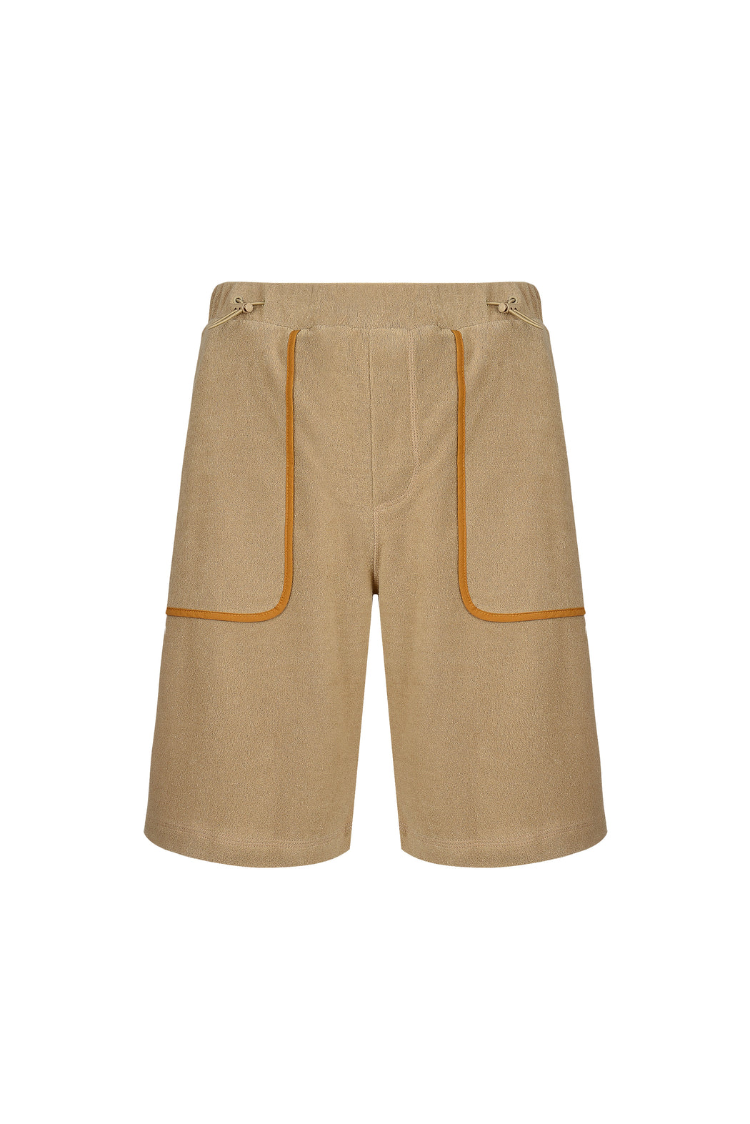 Front view of Men Line Detailed Terry Shorts in Beige