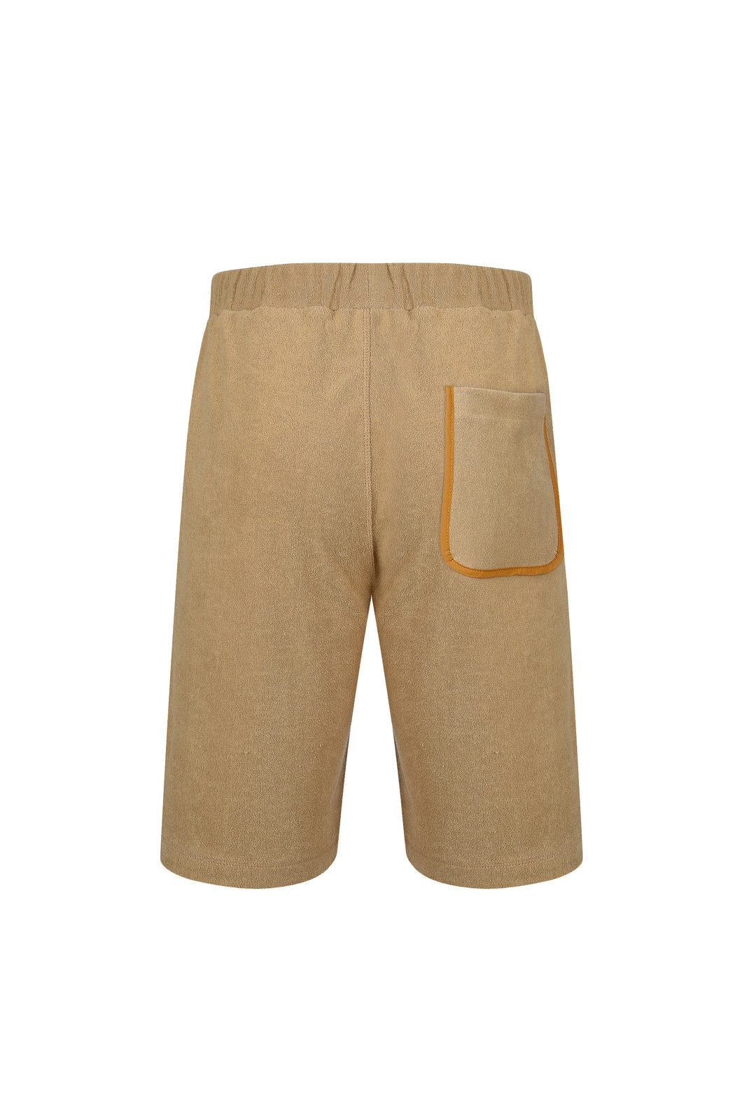 Back view of Men Line Detailed Terry Shorts in Beige