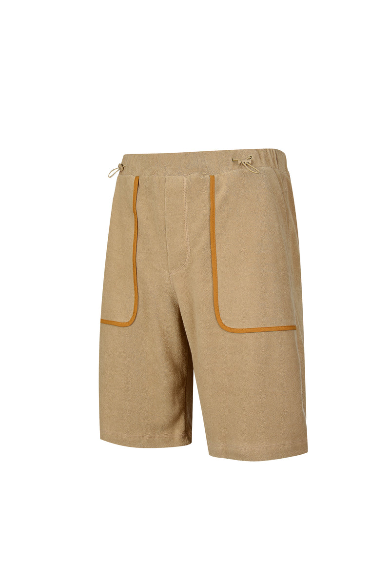 Side view of Men Line Detailed Terry Shorts in Beige