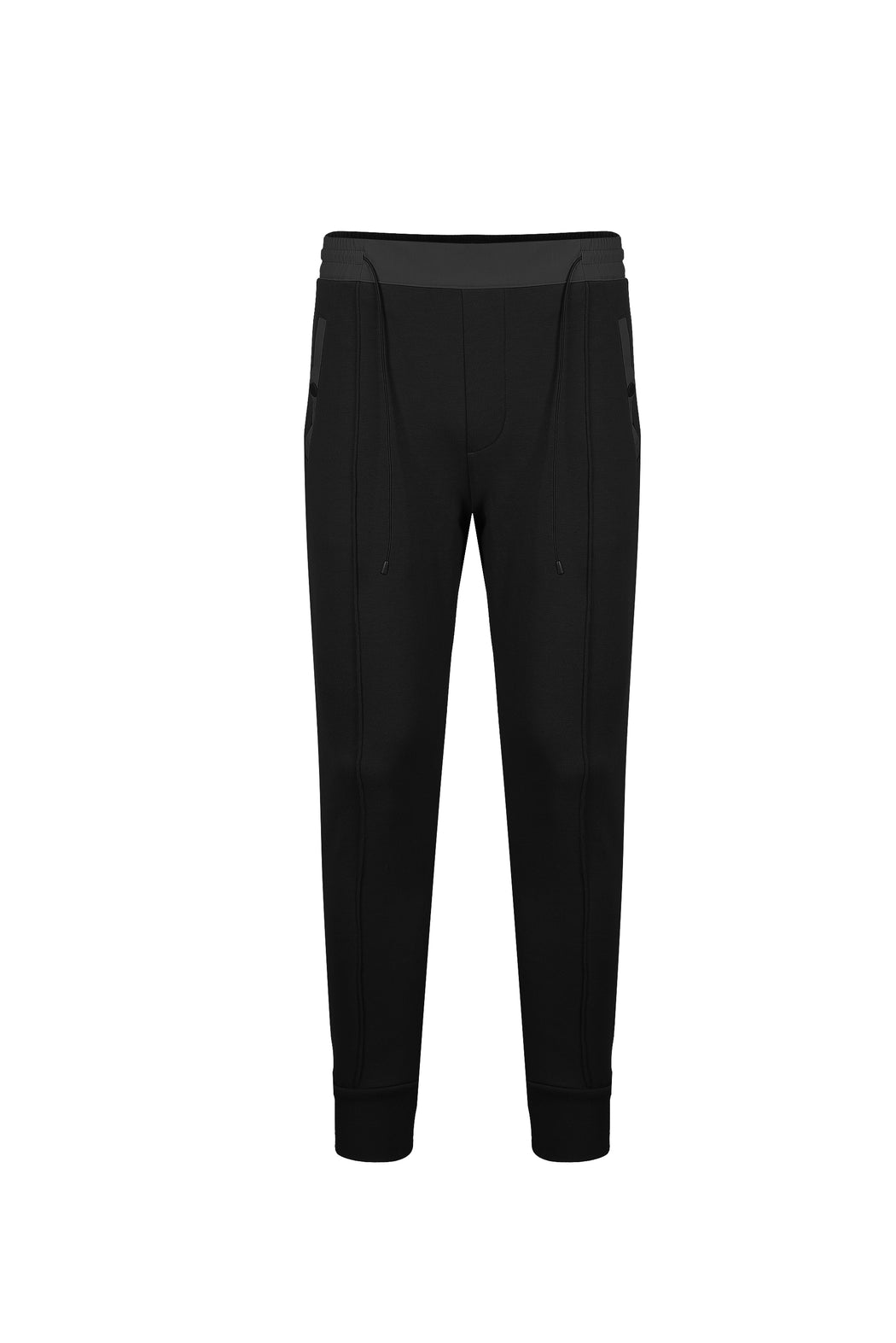 Front view of Men Color Blocked Jogger Pants in Black