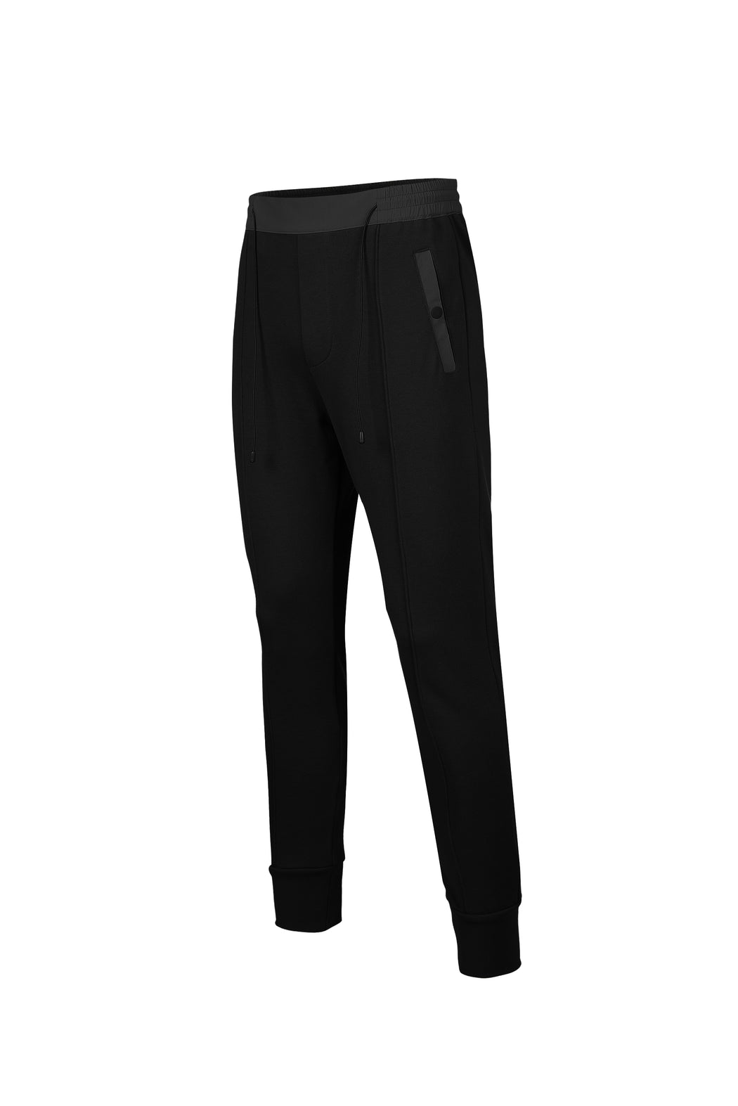 Side view of Men Color Blocked Jogger Pants in Black