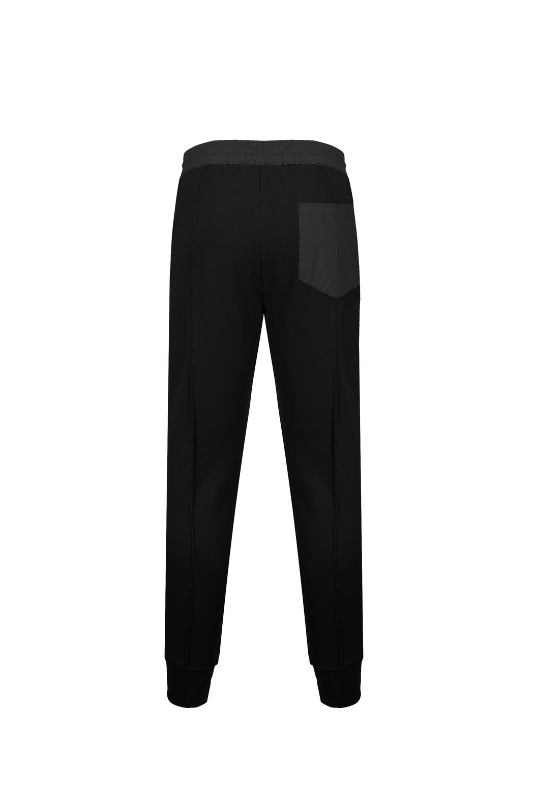 Back view of Men Color Blocked Jogger Pants in Black