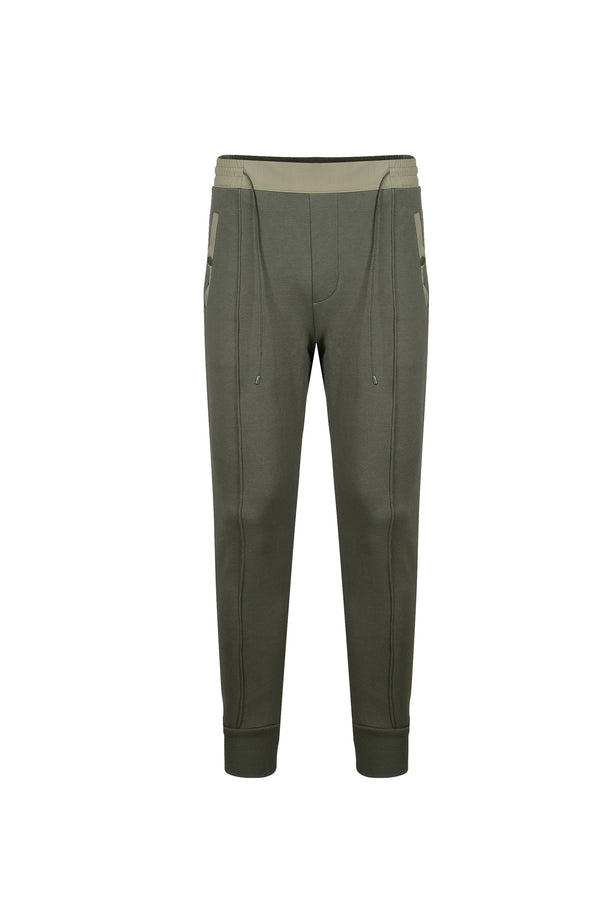 Front view of Men Color Blocked Jogger Pants in Khaki