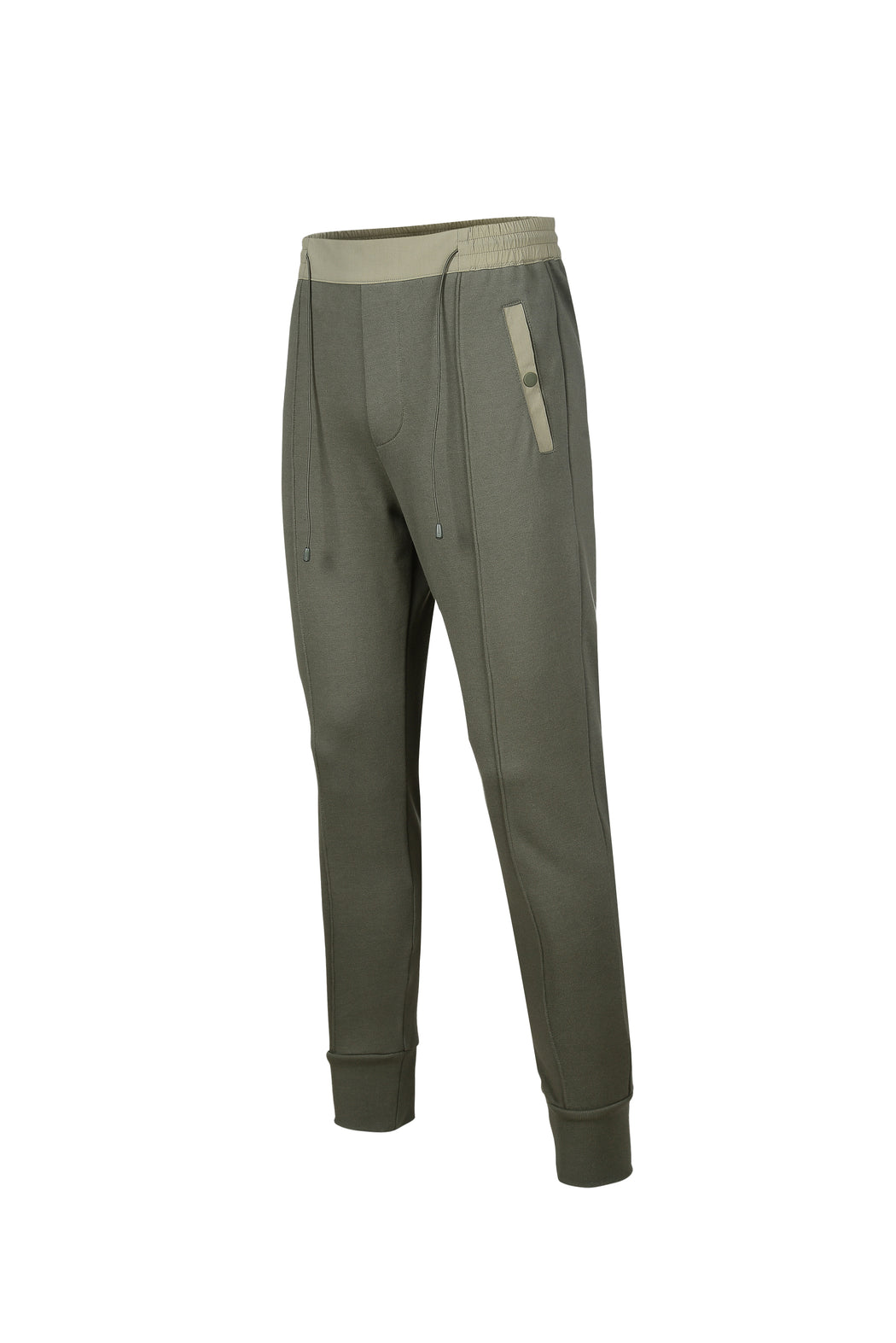 Side view of Men Color Blocked Jogger Pants in Khaki