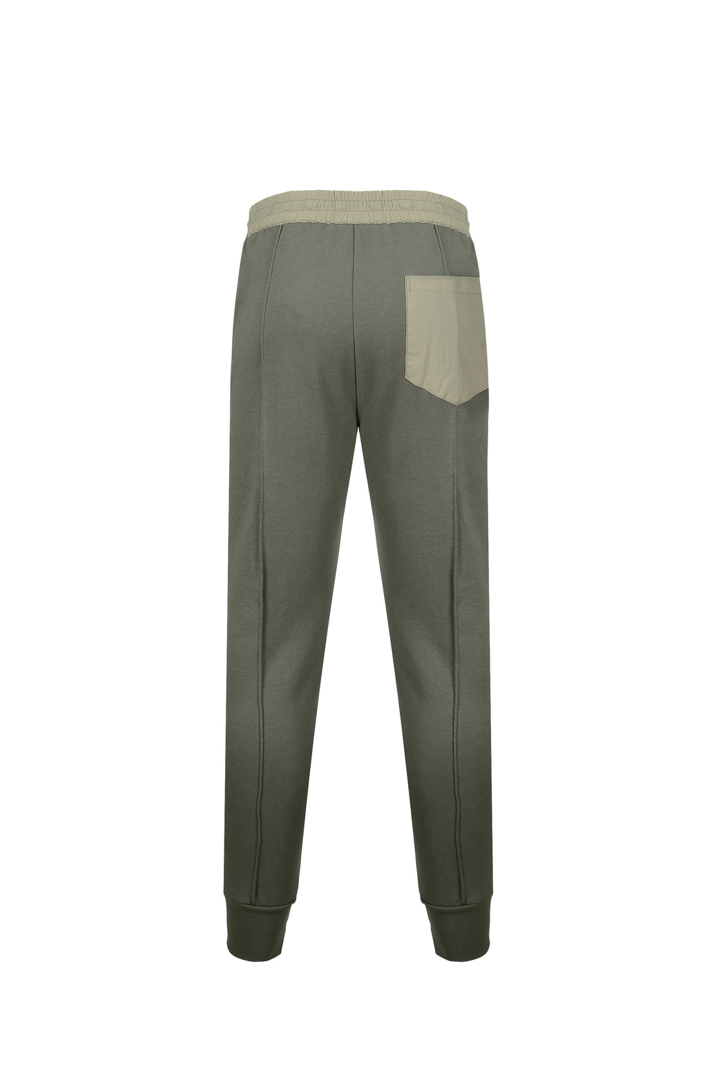 Back view of Men Color Blocked Jogger Pants in Khaki