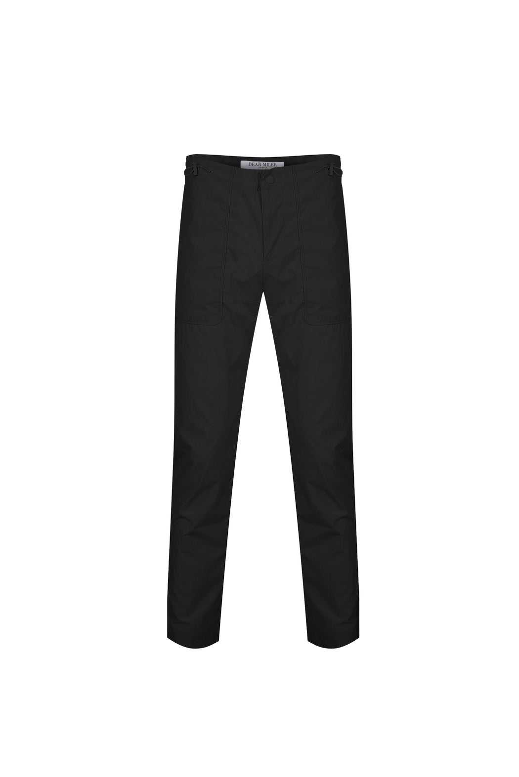 Front view of Men High Waist Stopper Detail Pants in Black