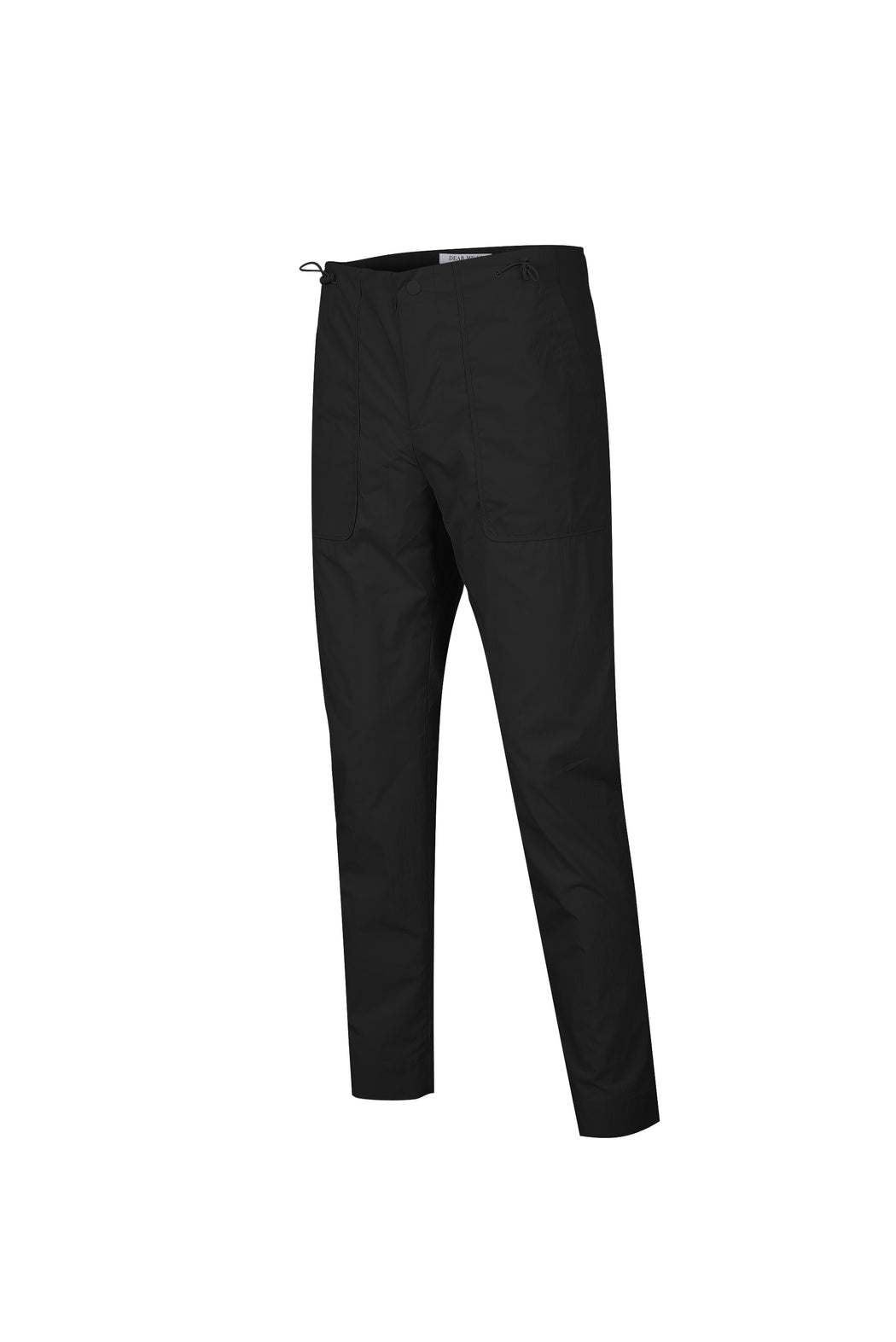 Side view of Men High Waist Stopper Detail Pants in Black