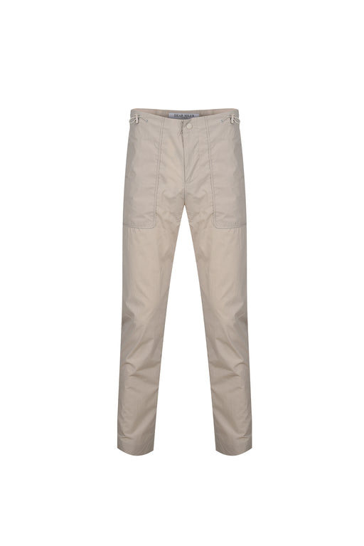 Front view of Men High Waist Stopper Detail Pants in Beige