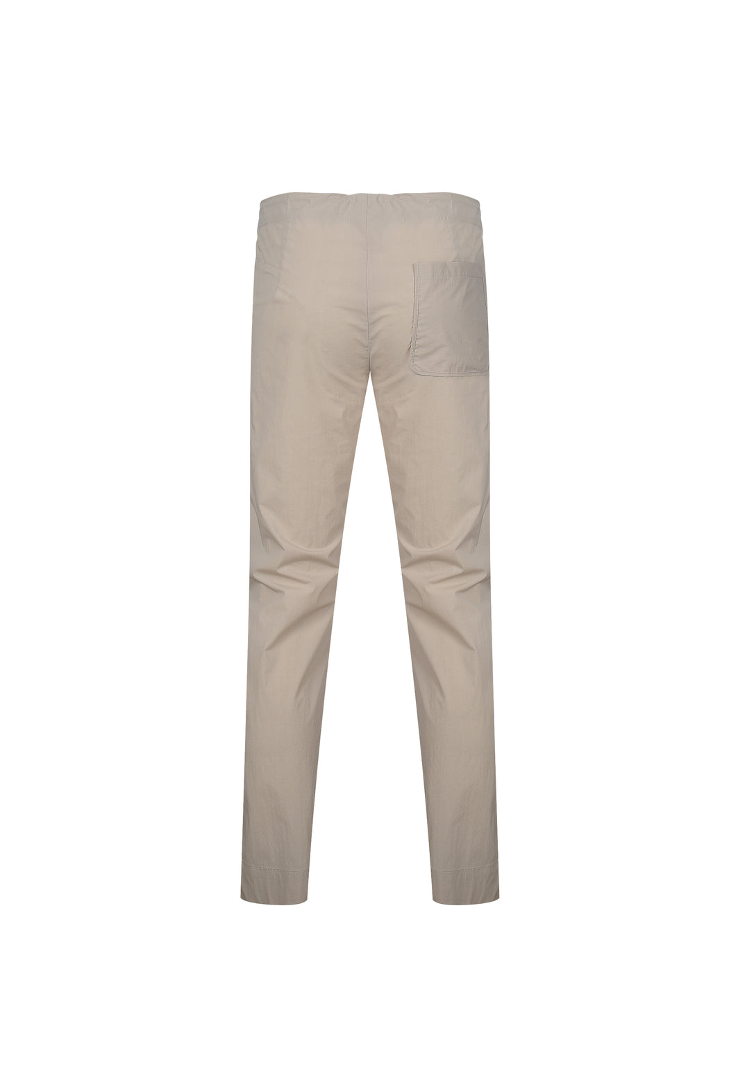 Back view of Men High Waist Stopper Detail Pants in Beige