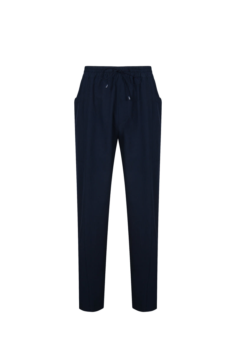 Front View of Men Cupra Side Pocket Easy Pants in Navy