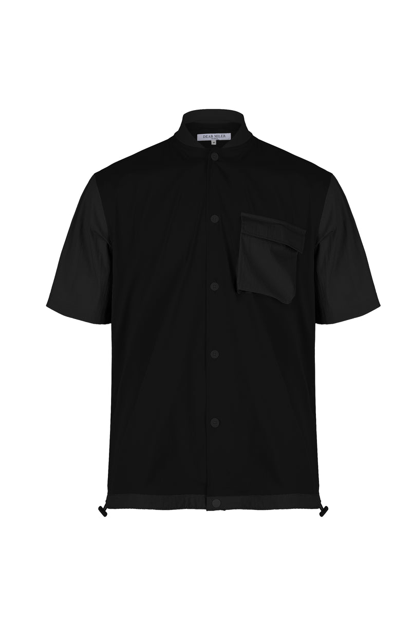 Front view of Men Blocked Ribbed Collar Shirt in Black