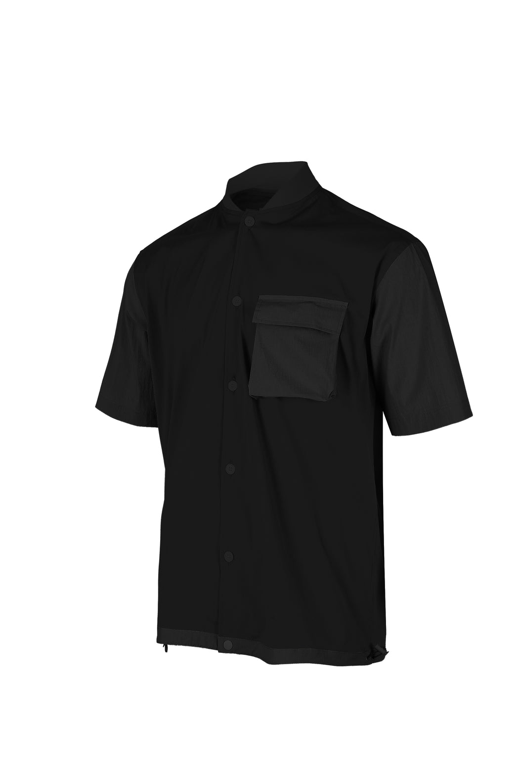 Side view of Men Blocked Ribbed Collar Shirt in Black
