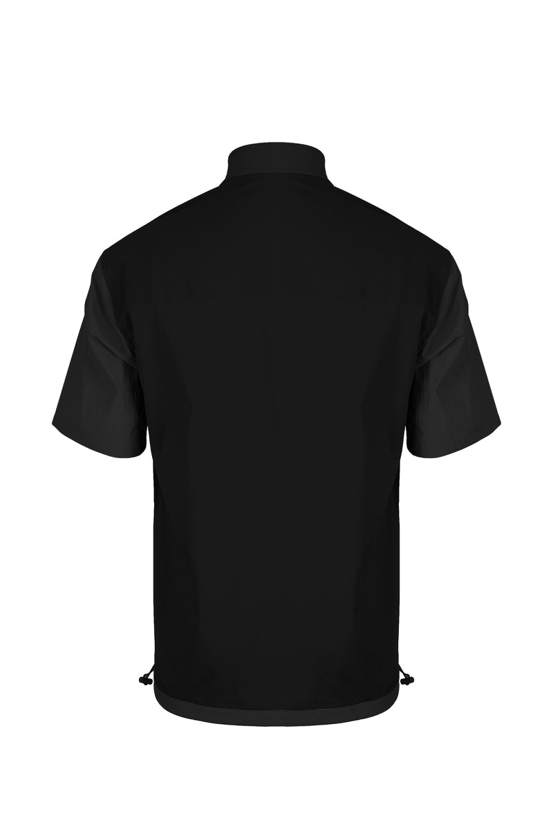 Back view of Men Blocked Ribbed Collar Shirt in Black