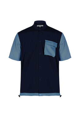 Front view of Men Blocked Ribbed Collar Shirt in Navy