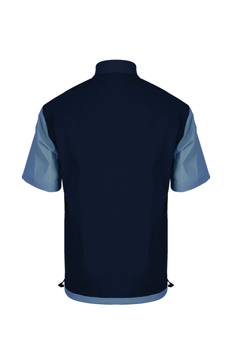 Back view of Men Blocked Ribbed Collar Shirt in Navy