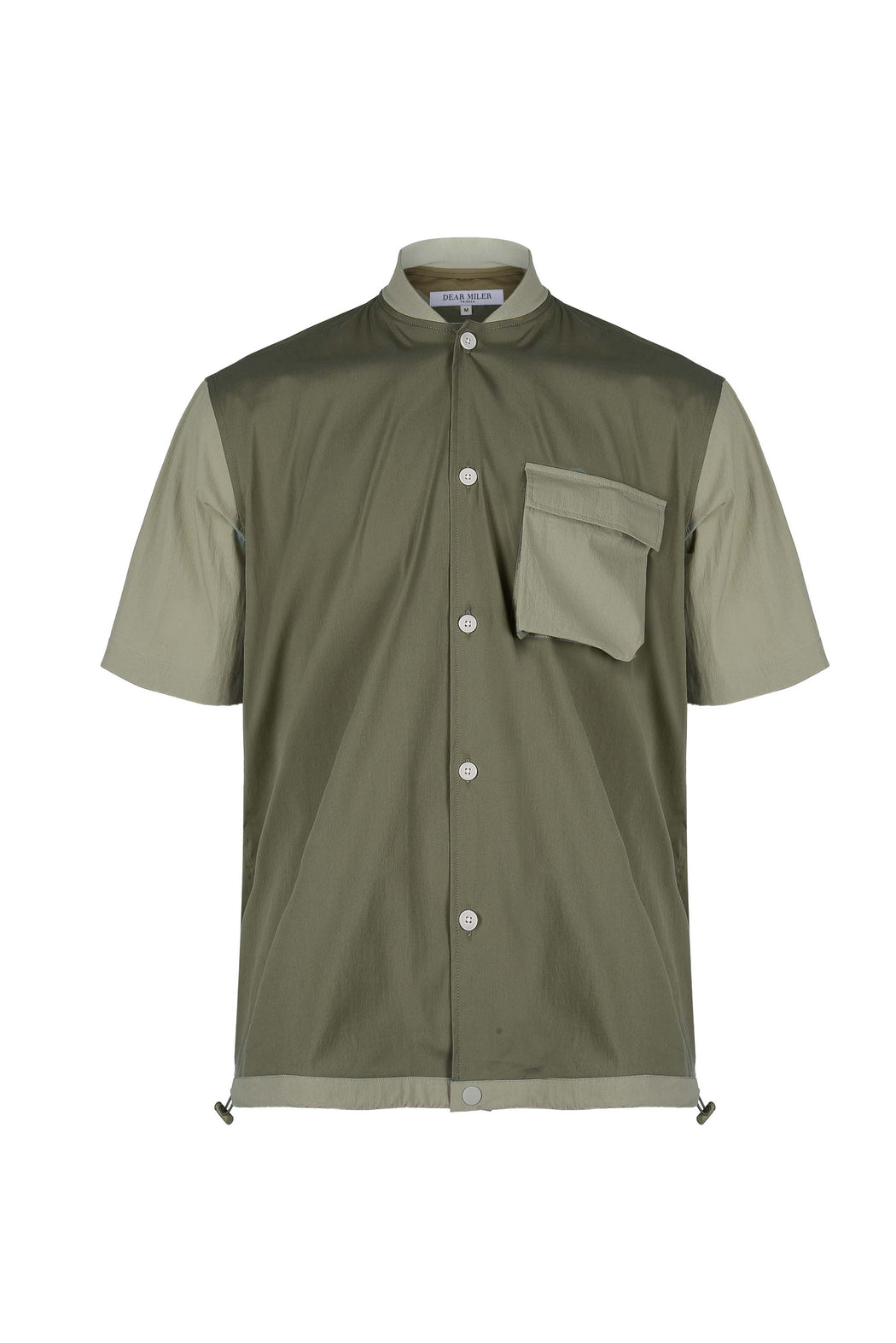 Front view of Men Blocked Ribbed Collar Shirt in Khaki