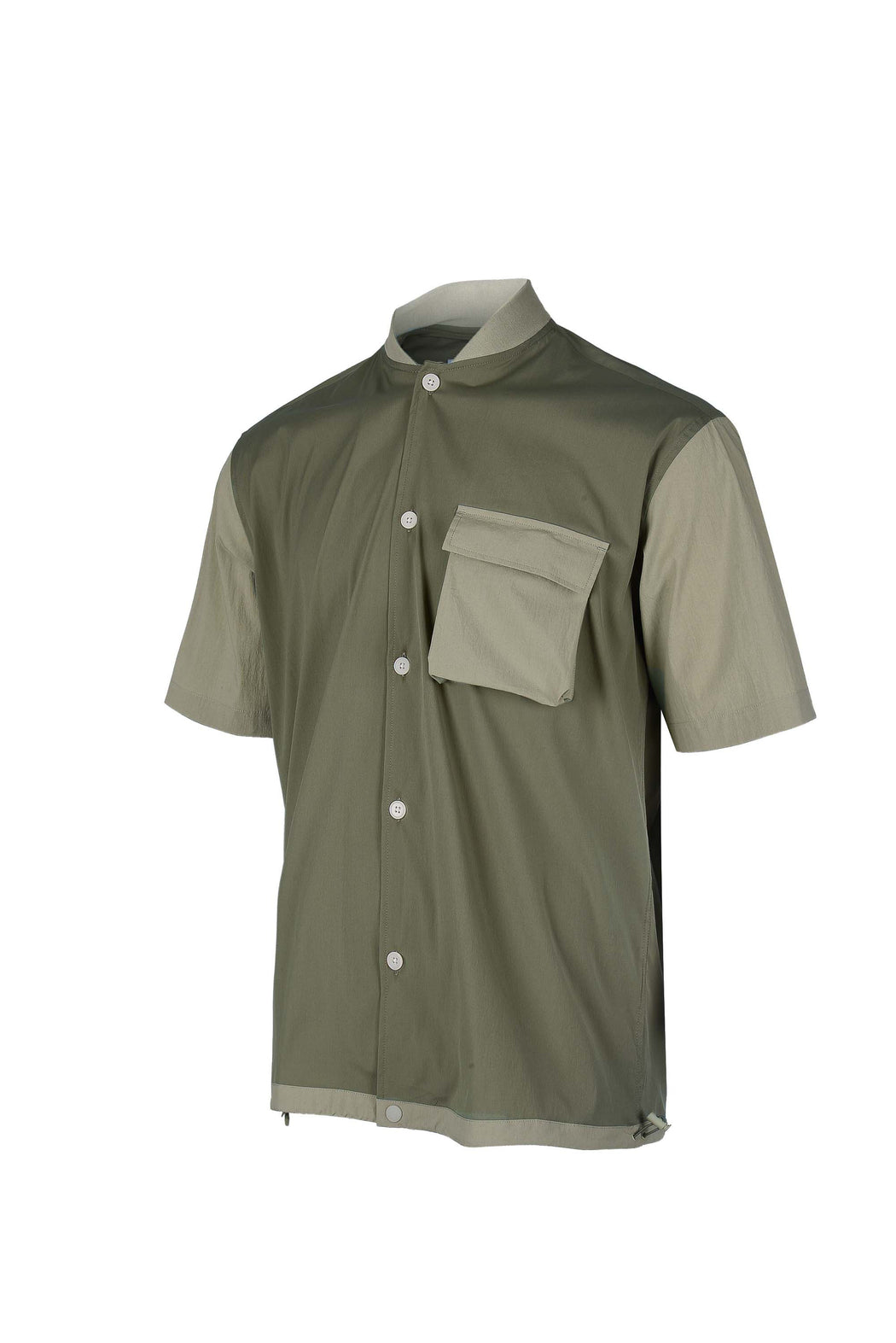 Side view of Men Blocked Ribbed Collar Shirt in Khaki