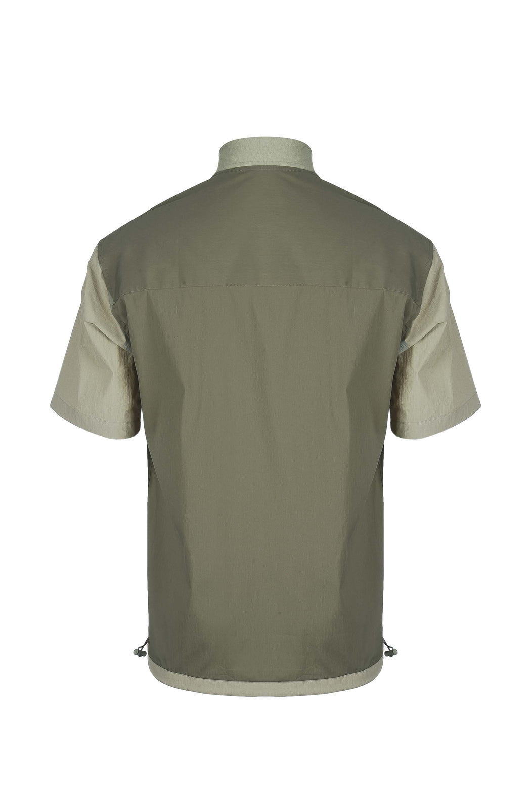 Back view of Men Blocked Ribbed Collar Shirt in Khaki