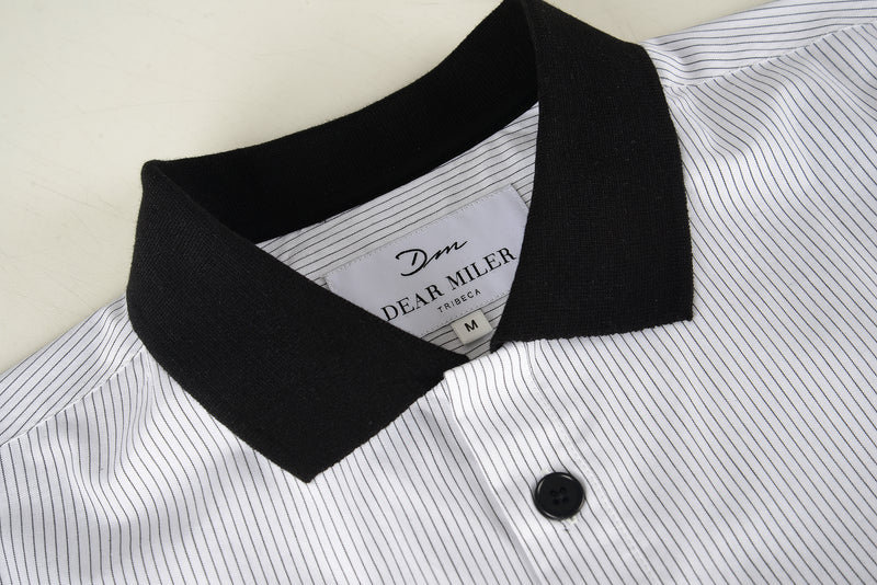 Men Contrast Collar Stripe Polo Shirt (Collar Detail)