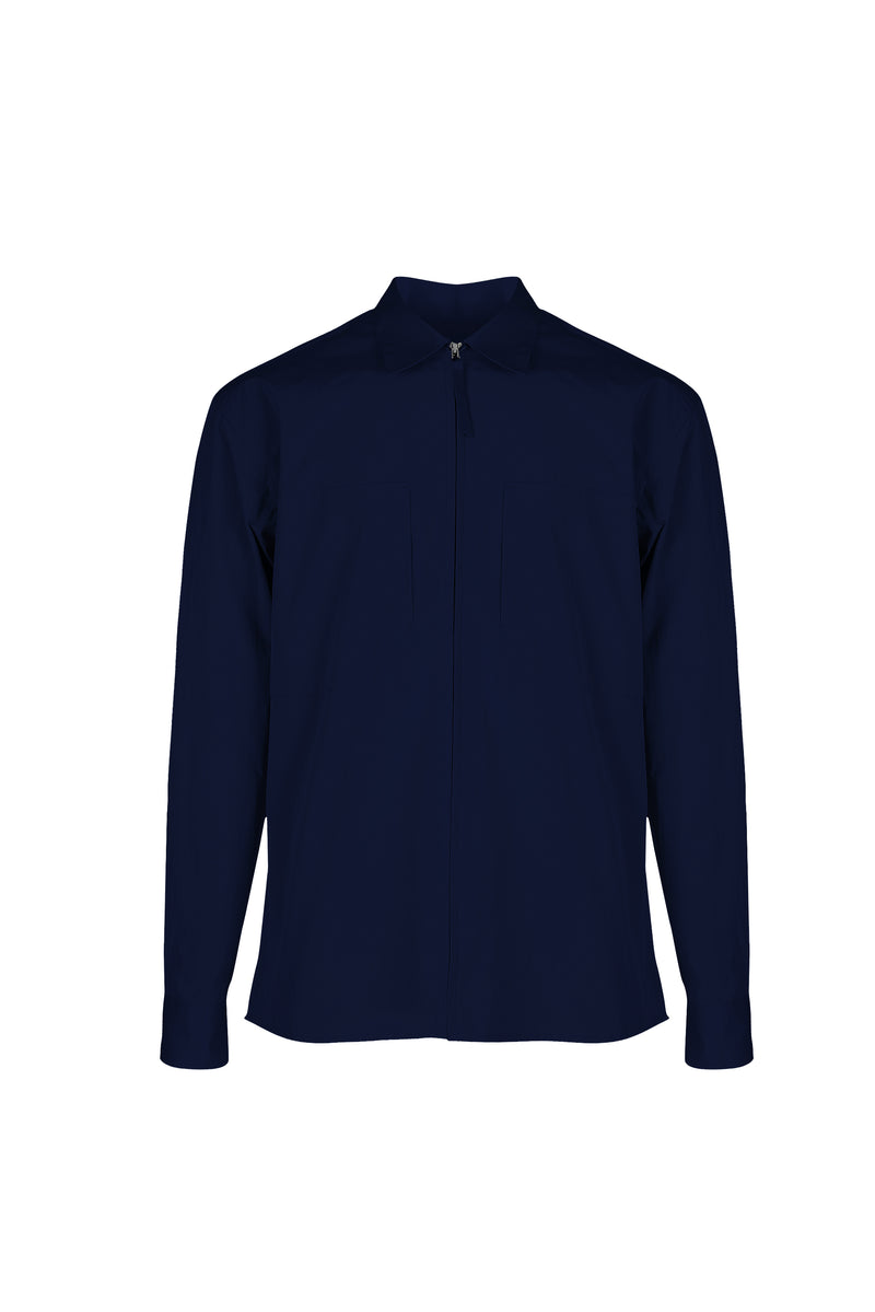 Front view fo Men Shirt Jacket in Deep Navy