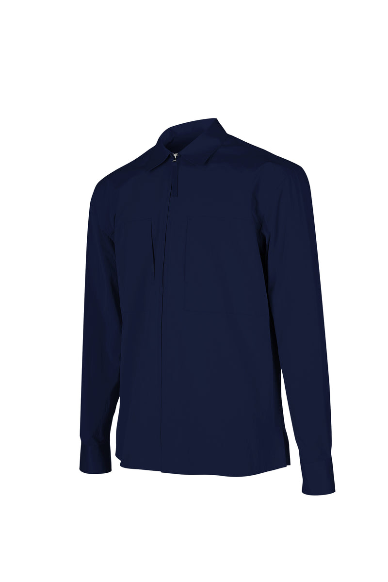 Side view fo Men Shirt Jacket in Deep Navy