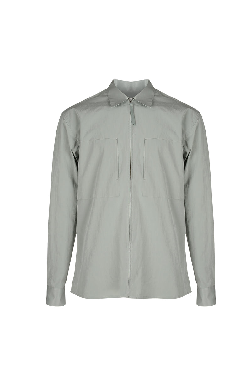 Front view fo Men Shirt Jacket in Dusty Mint