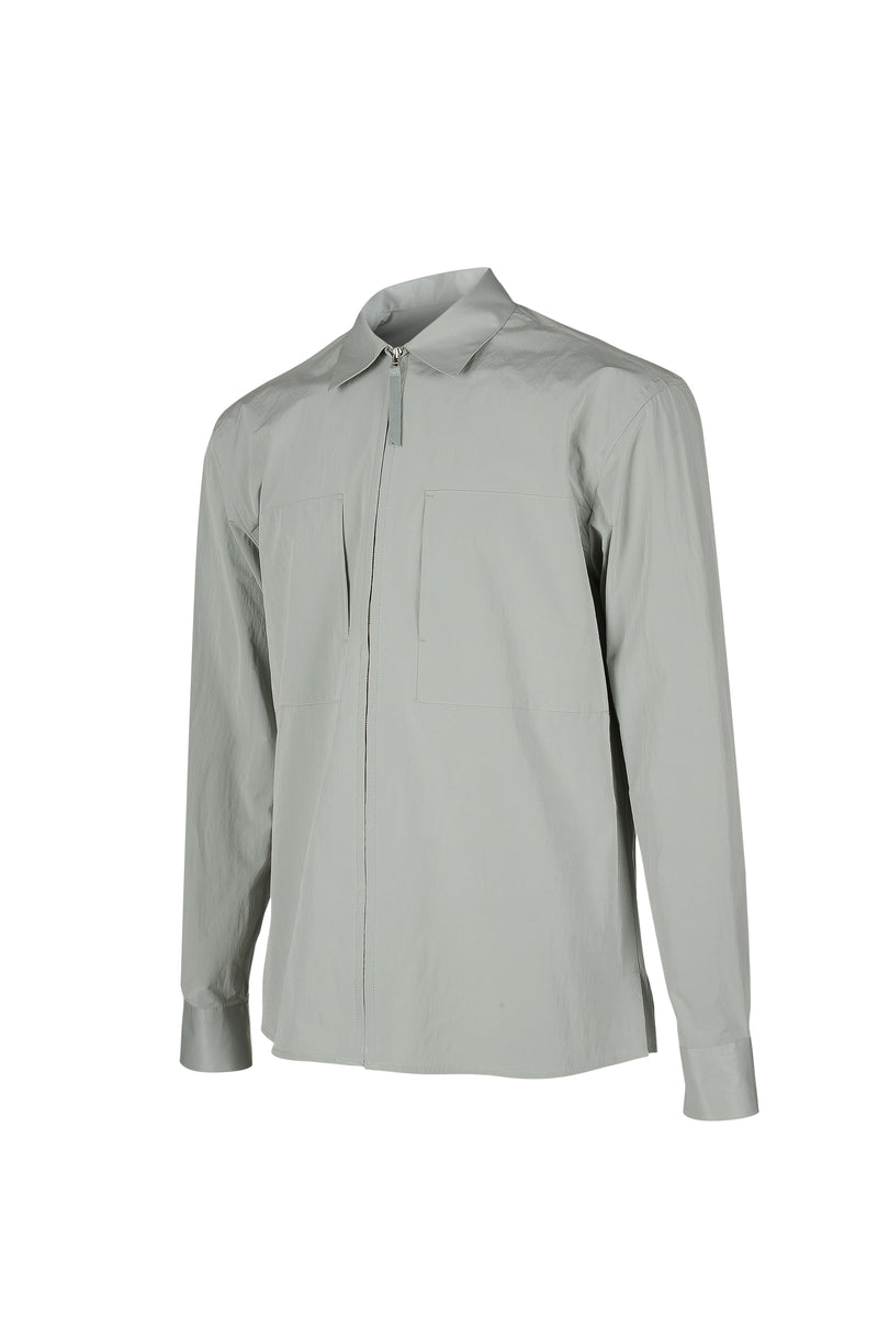 Side view fo Men Shirt Jacket in Dusty Mint