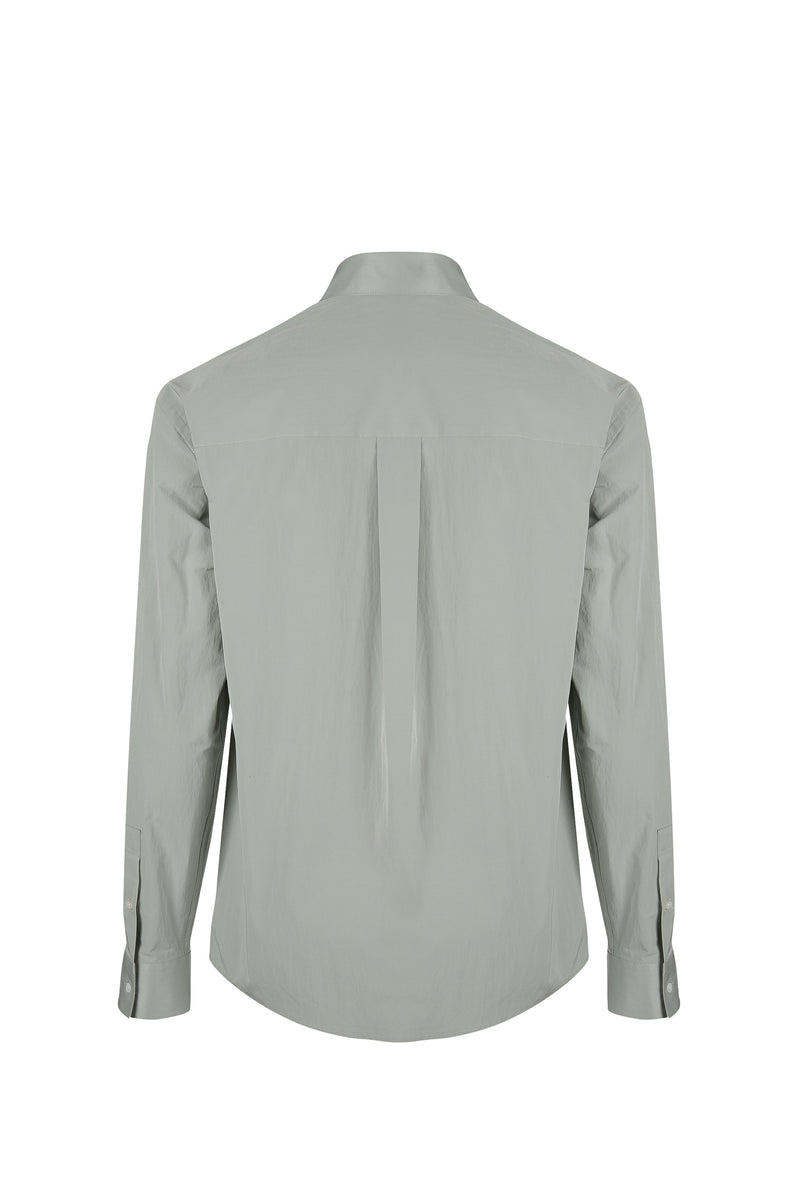 Back view fo Men Shirt Jacket in Dusty Mint