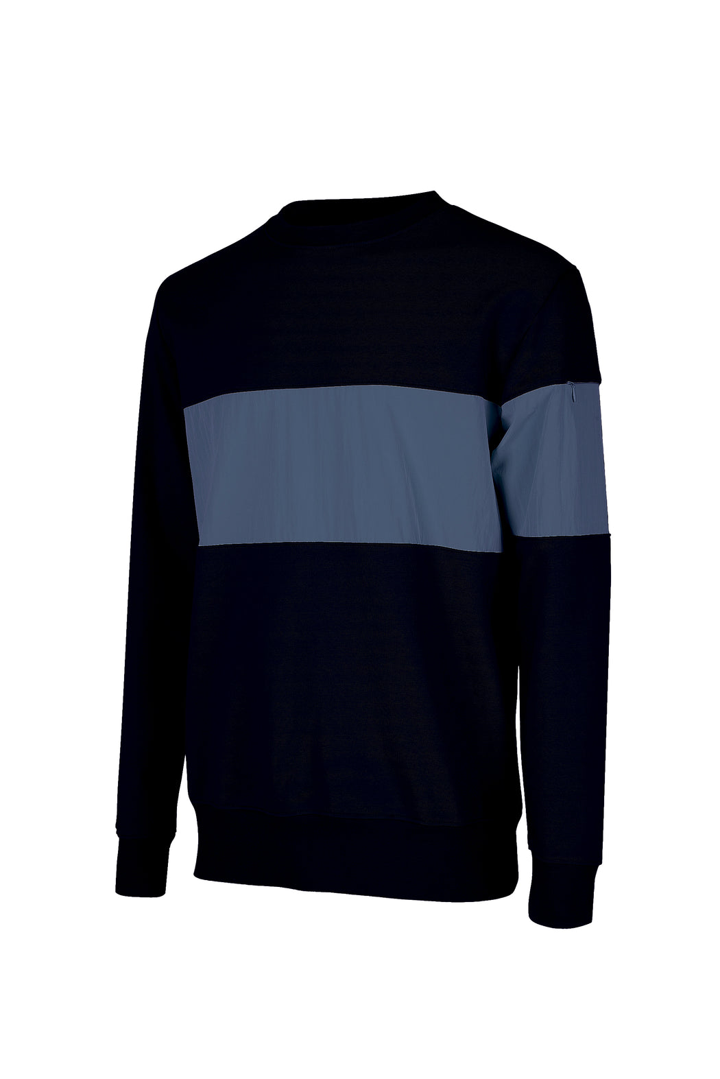 Side view of Men Color Blocked Terry Sweatshirt in Midnight