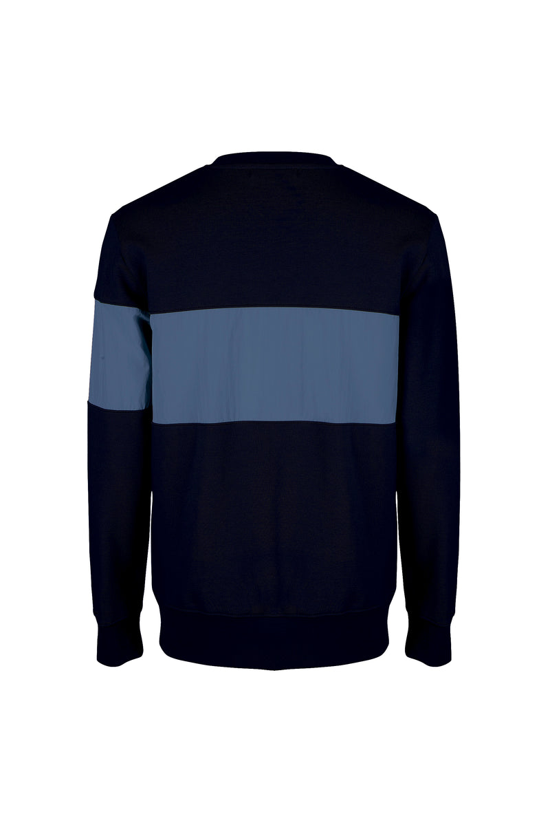 Back view of Men Color Blocked Terry Sweatshirt in Midnight