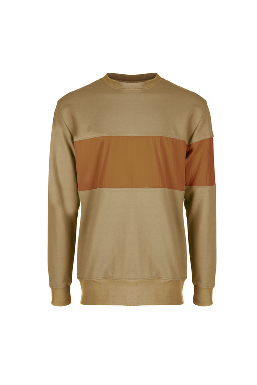 Front view of Men Color Blocked Terry Sweatshirt in Desert
