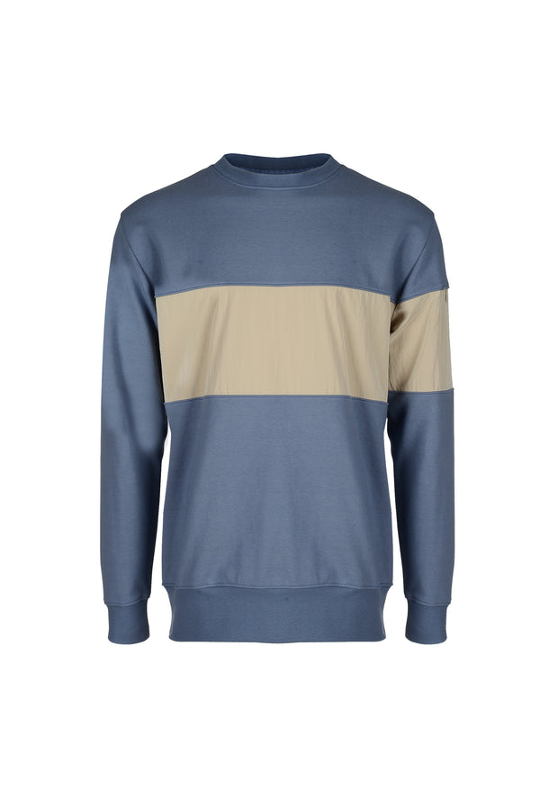 Front view of Men Color Blocked Sweatshirt in Blue