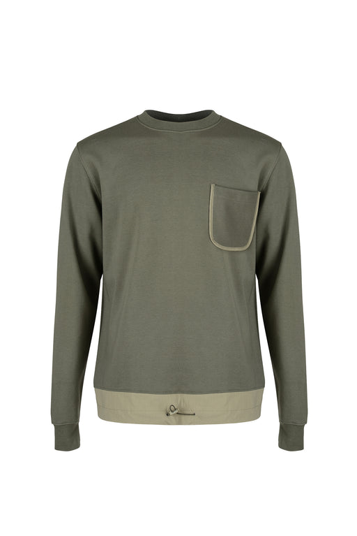 Front view of Men Big Pocket Sweatshirt with stopper at hem in Khaki
