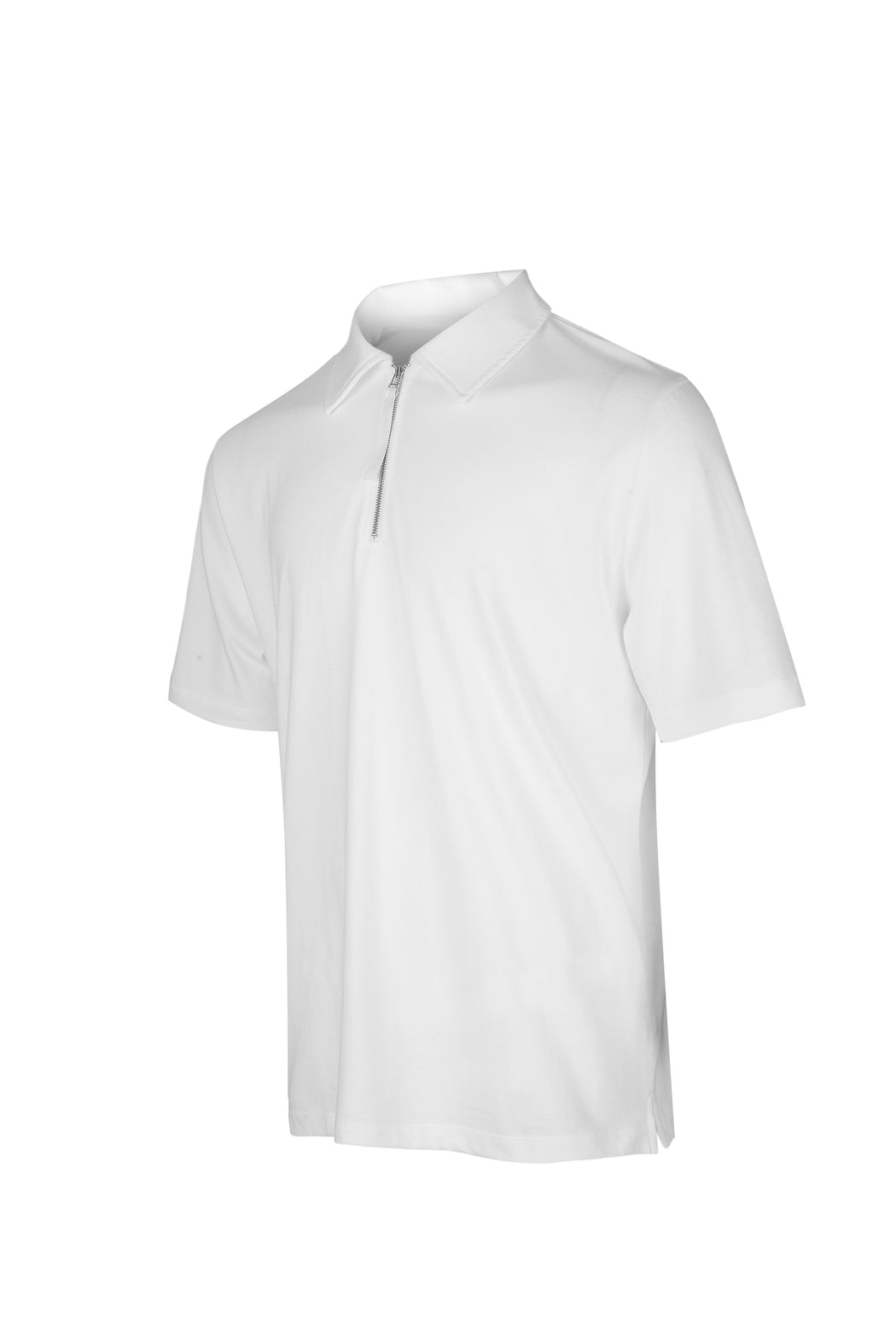 Side view of Men Zipper Polo Shirt in White