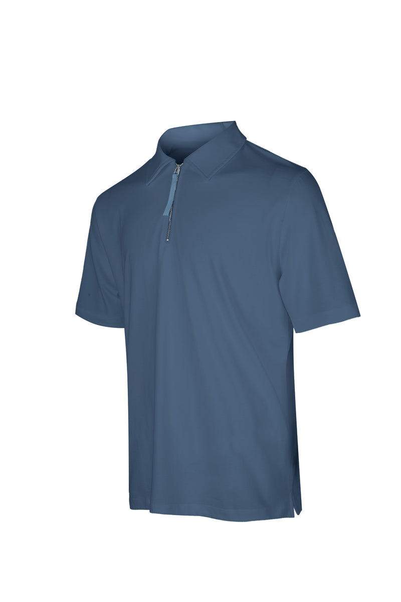 Side view of Men Zipper Polo Shirt in Blue