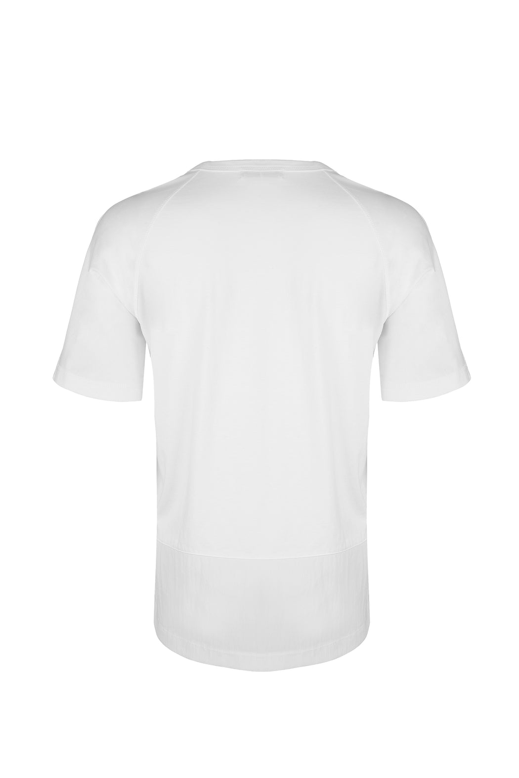 Back View of Men Pocket Blocked T-shirt, made with Supima Cotton in White