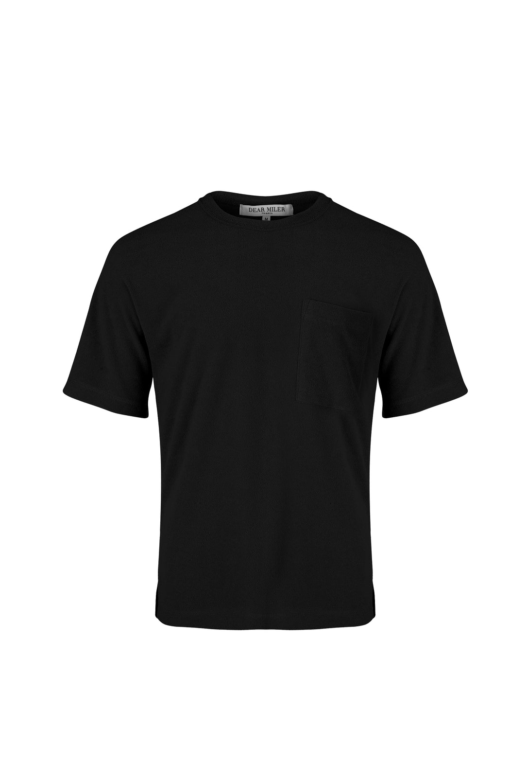 Front View of Men Pocket Blocked T-shirt, made with Supima Cotton in Black