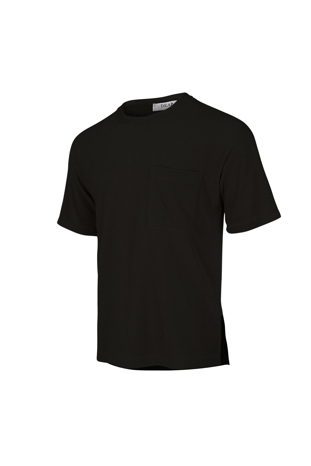 Side View of Men Pocket Blocked T-shirt, made with Supima Cotton in Black