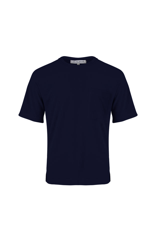 Front view of Men Pocket Blocked Terry T-shirt in Navy