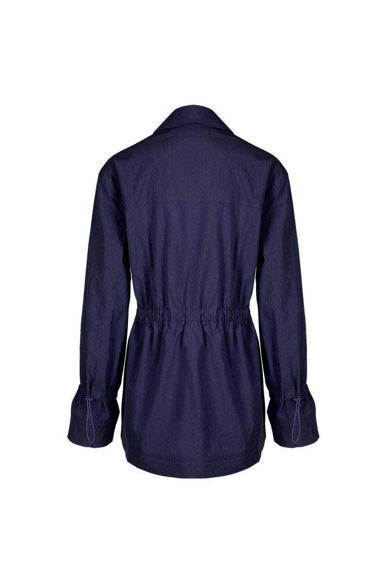 Women Cupro Button Jacket, Navy