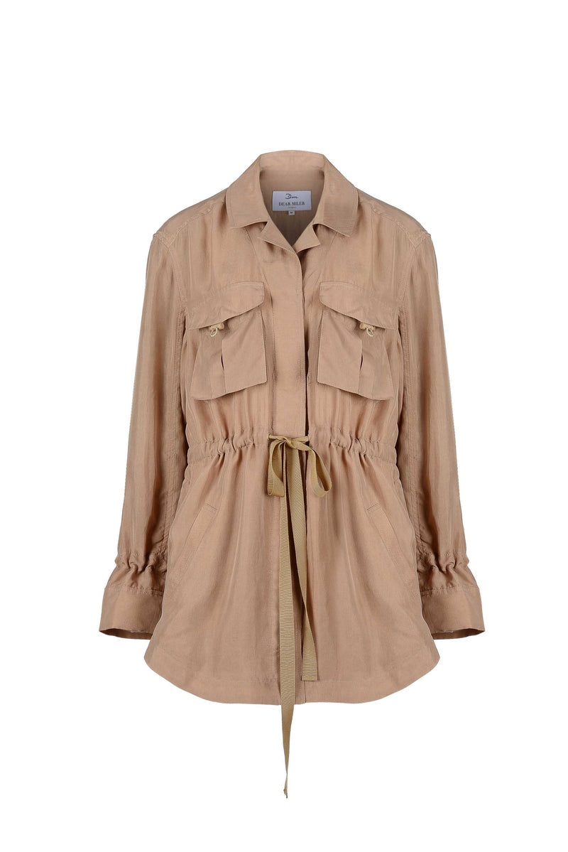 Women Cupro Button Jacket, Beige