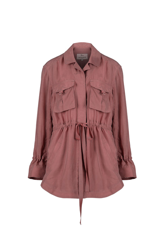 Women Cupro Button Jacket, Pink