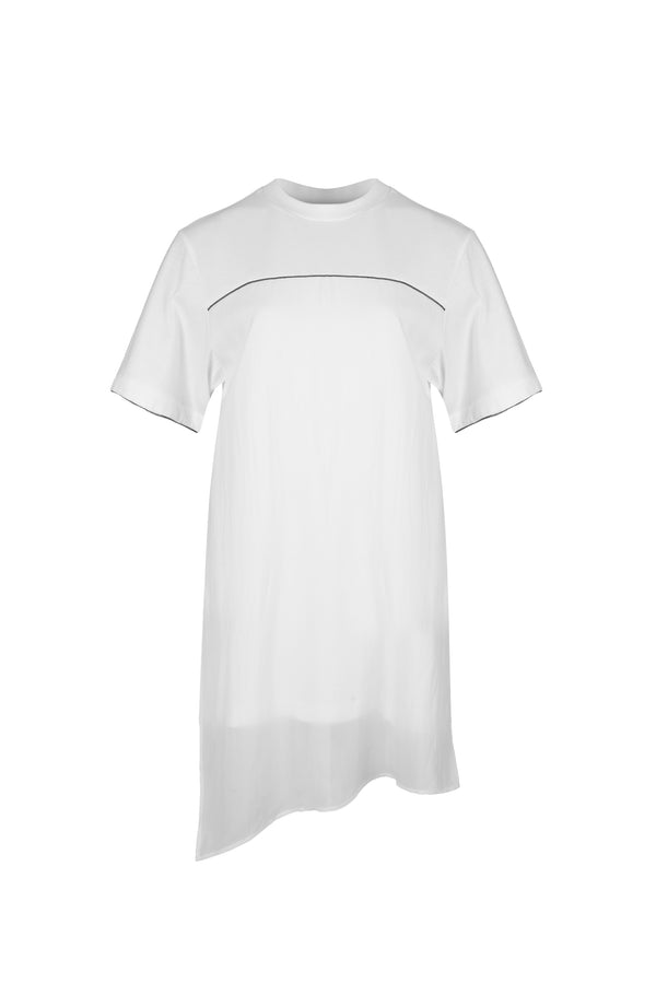 Women Cupro Blocked T-Shirt, White