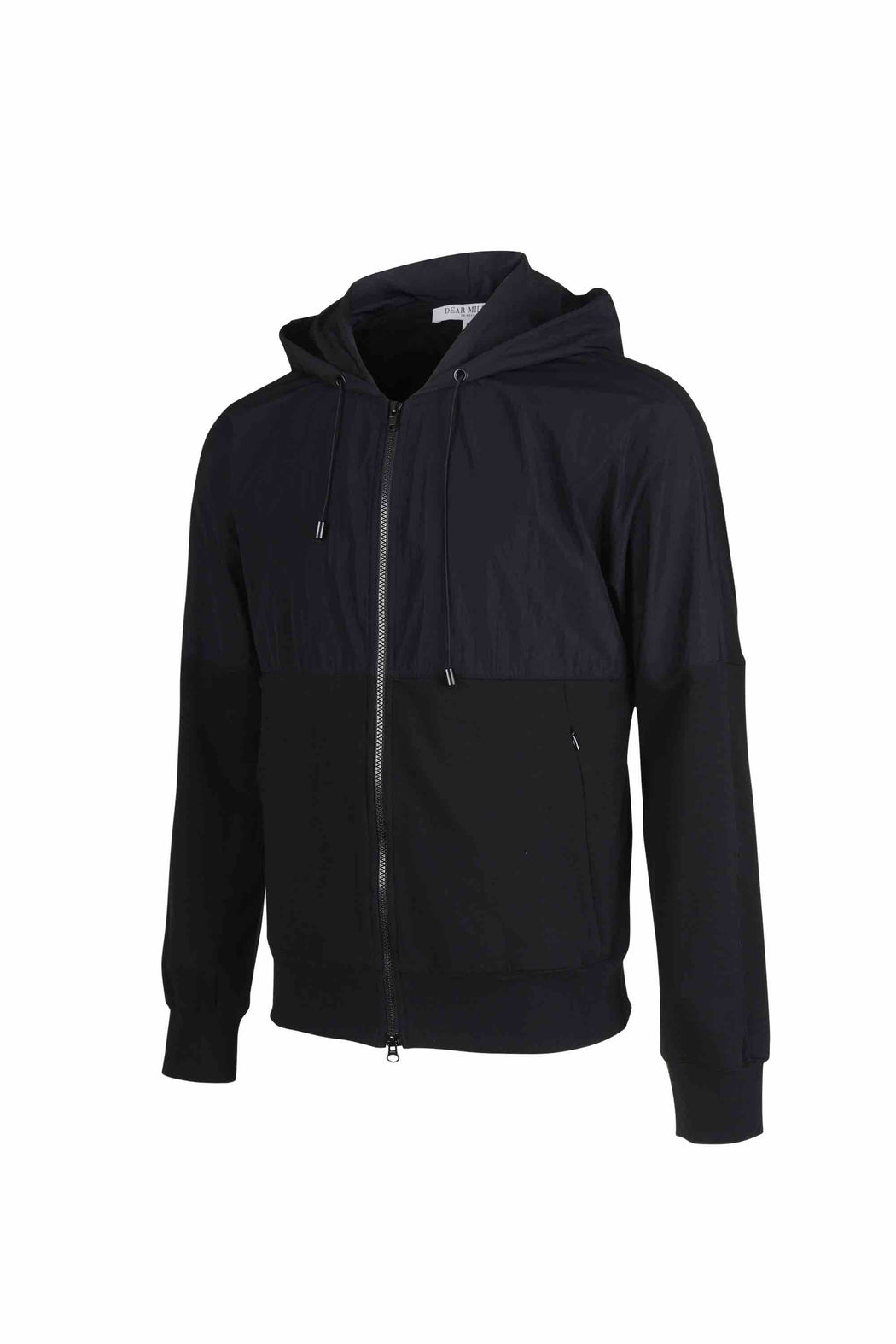 Side view of Men Nylon Hoodie Zip-Up, made with Organic Cotton in Black