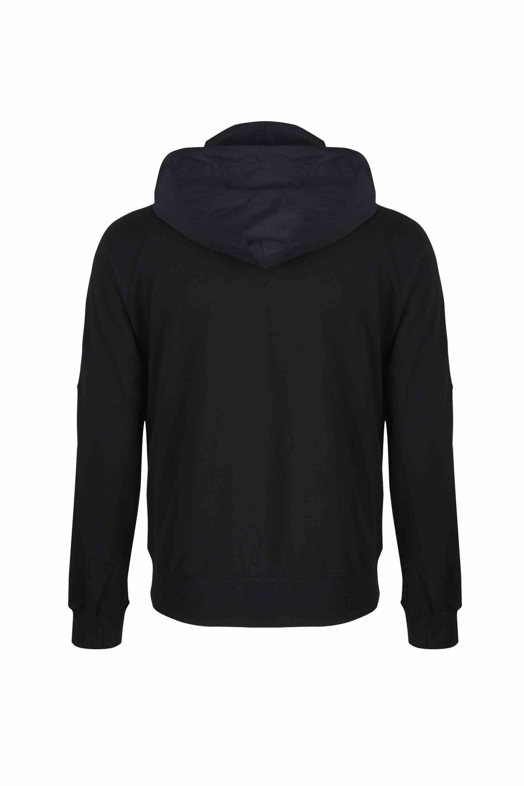 Back view of Men Nylon Hoodie Zip-Up, made with Organic Cotton in Black